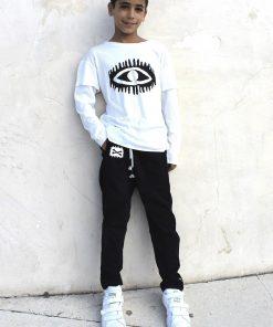 abalulu unisex black pants and white shirt מכנסים וחולצה לילדים אבלולו